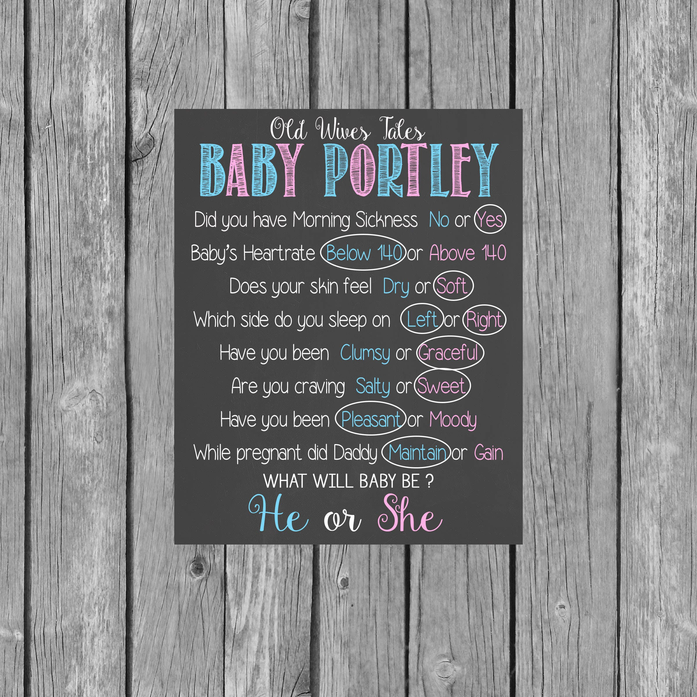 Old Wives Tales Personalized Printable Chalkboard Gender
