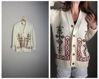 vintage 70s offwhite geometric pattern bohemian hippie ivory oversized slouchy boyfriend cardigan sweater -- mens medium/ womens large