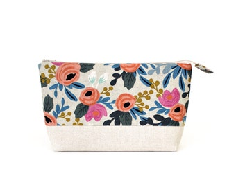 Makeup Bag with Waterproof Lining in Les Fleurs Canvas Fabric by Rifle Paper Co. Made in Vermont by Made on Main VT