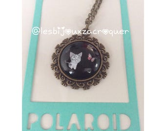 Necklace cameo kitten