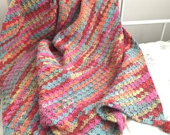 Crochet Blanket - Multi-Coloured Corner to Corner Style - 90cm square