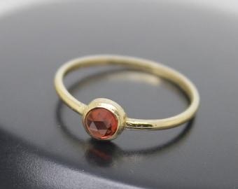 Red Garnet Ring, Rose Cut Garnet, 18k Solid Gold Ring, Thin Gold Ring, Stacking Ring, Stackable Ring, Solitaire Ring, January Birthstone