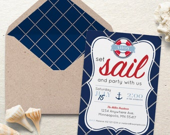 Nautical Party Invite. Set Sail Nautical Party Invite. Personalized - Digital / Printable File