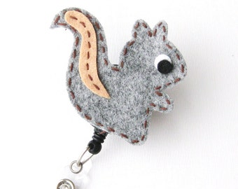 Baby Squirrel - Name Badge Holders - Cute Badge Reels - Unique Retractable ID Badge Holder - Felt Badge Reel - RN Badge - BadgeBlooms