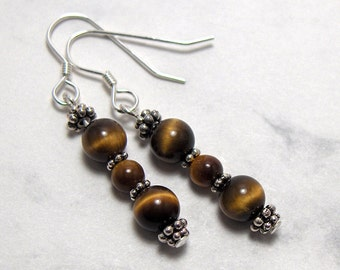 Tigers Eye Bead Dangle Earrings Pewter Bead Accents, Sterling Silver Earwires - Metaphysical Grounding, Protection and Energy