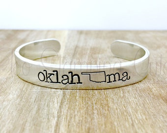 Oklahoma | Cuff Bracelet | Oklahoma Bracelet | Skinny Bracelet | State Outline | Oklahoma City | Tulsa | Home State | Stackable Cuff