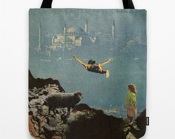 Tote Bag for the courageous - yet another leap of faith - surreal collage art