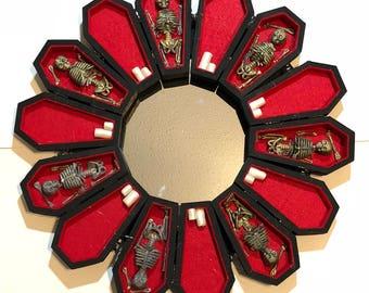 Gothic Coffin Wreath Mirror Skulls