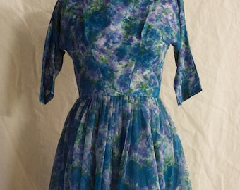 Vintage 80s Handmade Tulle Printed Floral Boat Neck Short Party Dress // XS Prom Dress
