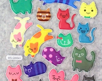 Mixed Sweet Puffy Cute Happy CAT Stickers