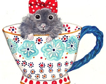 Mouse Watercolor Print - 5x7 Print, Greeting Card, Mouse in Teacup, Nursery Art, Funny Art Print