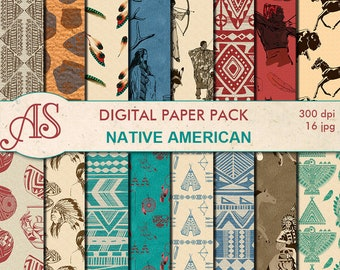 Digital Native American Paper Pack, 16 printable Digital Scrapbooking papers, tribal ethnic Digital Collage, Instant Download, set 246