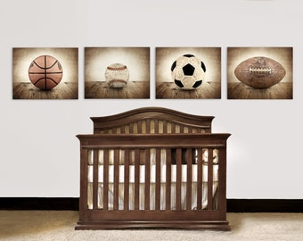 Vintage Single Baseball, Soccer, Football and Basketball Photo Set of Four Canvases  Ready to Hang, Wall art for boys, or Man Cave art