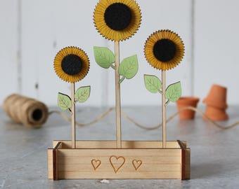 Sunflowers, Sunflower gift, flower gift, Mothers Day Gift, sunshine flowers, summer flowers, wooden flowers, personalised gift,