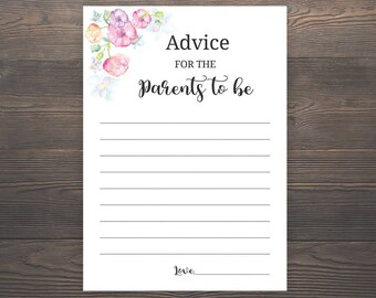 Advice for the parents to be, Pink Baby Shower, Baby Shower Games, Baby Girl Shower, Printable Baby Shower Games, Mom Dad Advice Cards, S015