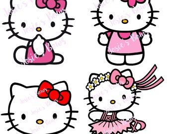 Hello Kitty 4 Different Styles Cut Cutting File - .SVG . DXF and Silhouette Studio Jpg and/or .Png, Cricut, Cutter, Vinyl, HTV