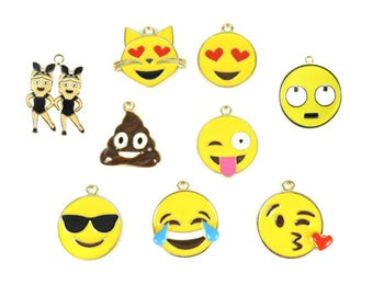 Gold Plated Face Charms - One of Each (9x) (K307-A)