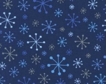 SALE - CHRISTMAS - Robert Kaufman Fabric - OTinsel Tree - Snowflakes-  Navy - Cotton fabric (last yard)