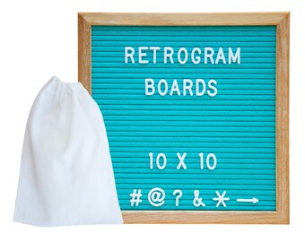 Ocean Teal Felt Felt - Oak Frame Retro Letter Board 10 x 10 inch with 300 White interchangeable letters and FREE letter bag