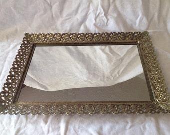 Midcentury Modern Hollywood Regency Mirrored Brass Tray