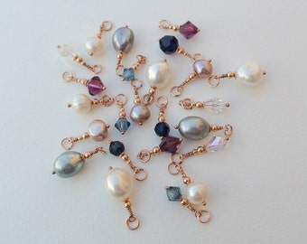 Rose Gold Pearl Drop Charms - Individual Rose Gold Filled Freshwater Pearl and Swarovski Crystal Drops for Necklaces, Earrings and Bracelets