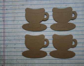 4 Bare chipboard die cuts Teacup Tea Cup diecuts