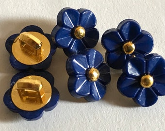 6 buttons indigo blue flowers