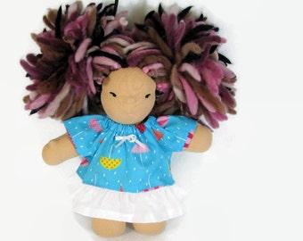 8 inch Chubby Waldorf Doll Clothes, rainy days Spring doll dress