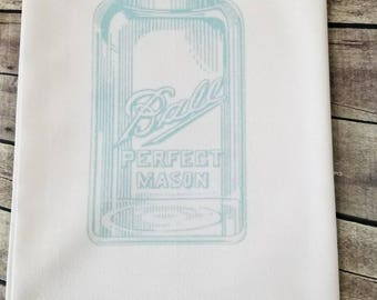 Mason jar flour sack tea towel