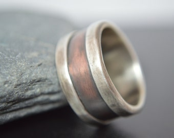 Fine Silver and Copper Wedding Band, Engagement Band, Promise Ring, Artisan Ring, Rustic Band, Oxidised Finish