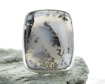 Silver ring with dendrite Agate. Size 8.25 . Natural stone. Gemstone Ring. Silver Ring. Dendrite Agate jewels. Ring size Q. apsarasV