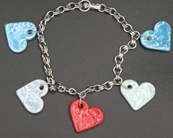 Handmade Ceramic Hearts on Silver Bracelet