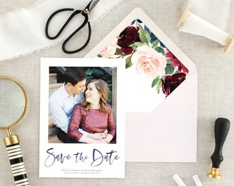 Fall Wedding Save the Date, Modern Save the Dates, Rustic Save the Date Cards, Photo, Winter, Navy Blue, Burgundy, Printed, Set of 10