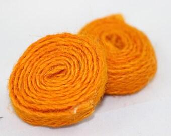 5 Pcs Orange Jute Beads, Round Natural Beads 35 mm, Natural Supplies