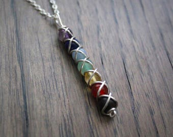 Seven Chakra Pendant - Wire Wrapped Gemstone Pendant Chakra Necklace Sterling Silver Gold Filled Meditation Necklace Yoga Necklace Reiki