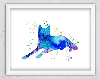Watercolor Wolf Nursery Print, Nursery Digital Print, Printable Nursery Art, Downloadable Print, Children's Room Decor, Wolf Home Decor, Art