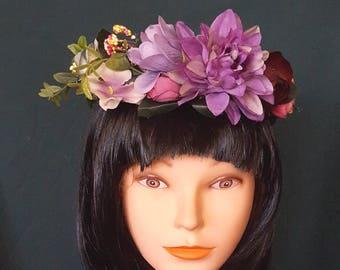 Purple Floral Flower Crown, Festival, Boho, Garland, Flower Garland Headband, Fairy Flower Crown,Flower Girl Crown Bohemian Crown Photo Prop