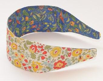 Special Edition REVERSIBLE Liberty of London Tana Lawn Danjo Yellow Orange Comfort Fit Fabric Headband