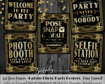 Gatsby PHOTO Poster Pack - INSTANT DOWNLOAD - Printable Wedding & Birthday Party Art Deco 1920s Sign - 3 sizes of each design included