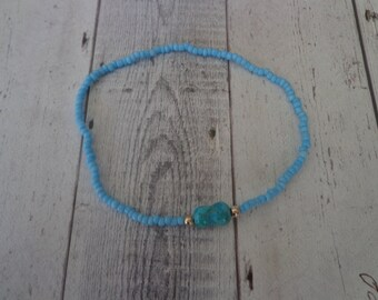 Retired Silpada Glass Beaded Anklet with Turquoise and Sterling Stretch Ankle Bracelet, A1340