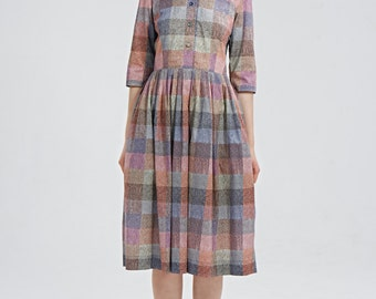 Wedding guest dress 50s dress 1950s dress Pin up dress Button up dress Plaid dress Pink dress Handmade Fit and flare Dress with pockets
