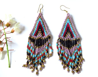 With beads, Tribal earrings, Native American Style earrings beaded earrings, black purple red Indians