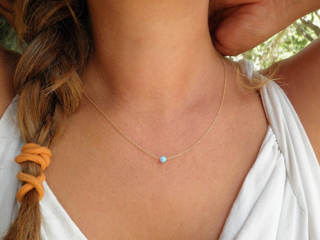 Wedding opal necklace tiny one 4mm blue opal necklace gold zoom mozeypictures Gallery