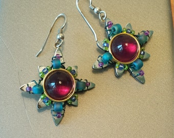 LIztech 1997 SUN Magenta and Teal Earrings