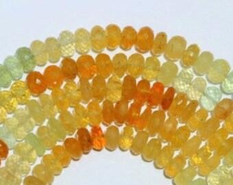 8 inch long strand of Rondelles Beads of Yellow Aquamarine 5*7 -- 4*8 mm