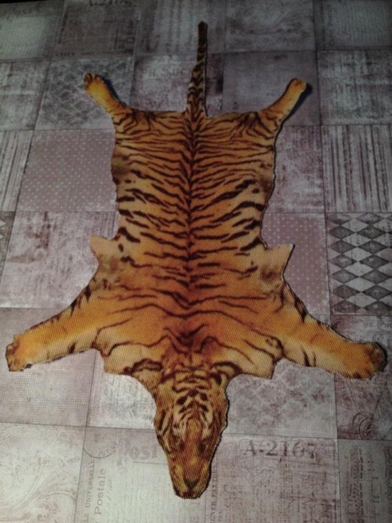 Dollhouse Miniature Tiger Skin Rug, Scale One Inch