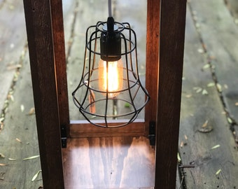 Rustic Industrial Wood Lantern with Electric Edison Bulb and Light Cage