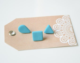 Shaped polymer stud earrings- Square, teardrop, triangle