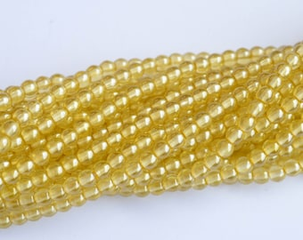 "120 pcs Light Yellow Czech Glass Round Beads, druk - 5mm, Full Strand 19"" - 120 beads"