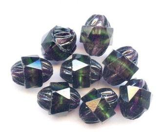 Deep Purple and Green Turbine Beads, Vintage, Eerie (8)